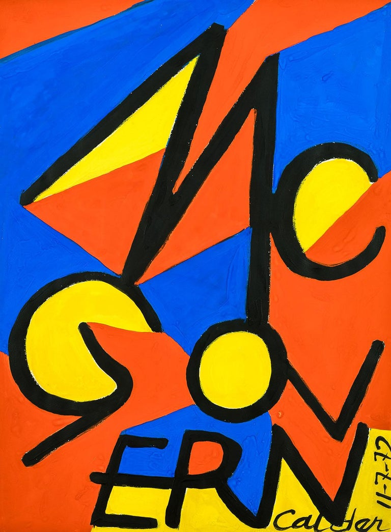 Original gouache painting by Alexander Calder titled 'McGovern' For Sale 1