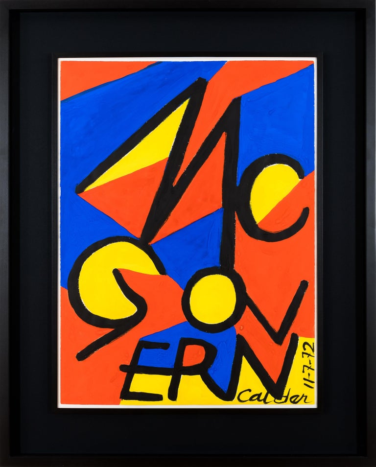 This vibrant gouache of Calder's owes its origin to the 1972 Presidential Election between Republican candidate Richard Nixon and Democratic candidate George McGovern. In the run-up to the election, Calder worked closely with the influential