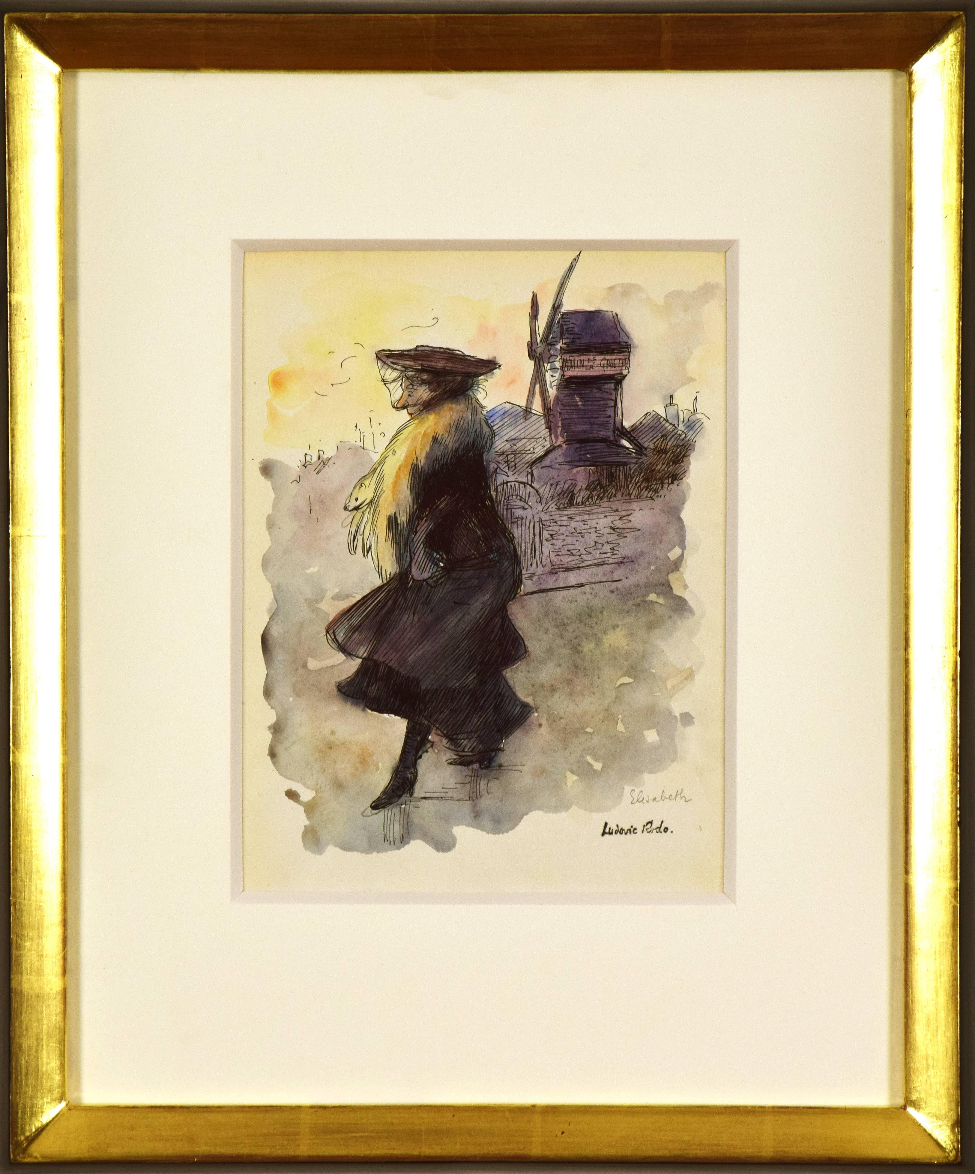 Watercolour artwork by Ludovic Rodo Pissarro titled 'Le Moulin de la Galette'