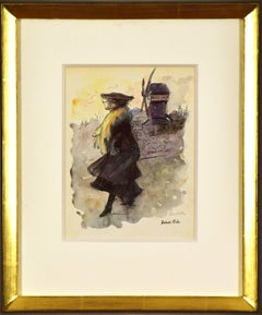 Watercolour artwork by Ludovic Rodo Pissarro titled 'Le Moulin de la Galette'
