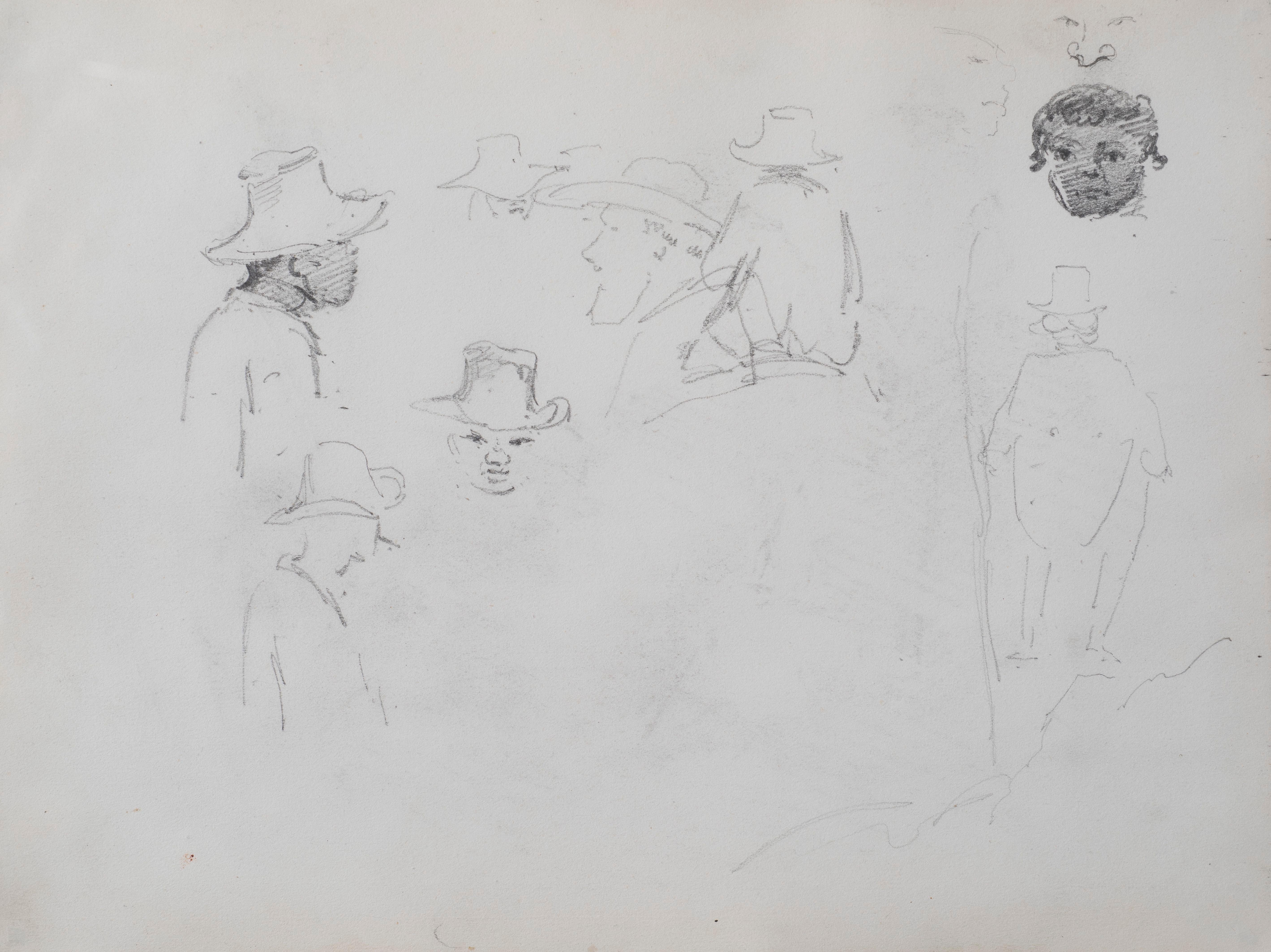 Early rare drawing by Impressionist Camille Pissarro titled Study of Men's Heads