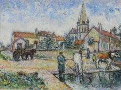Pastel by H. Claude Pissarro 'L'Ancien Abreuvoir et l'Église de Mareil-Marly'