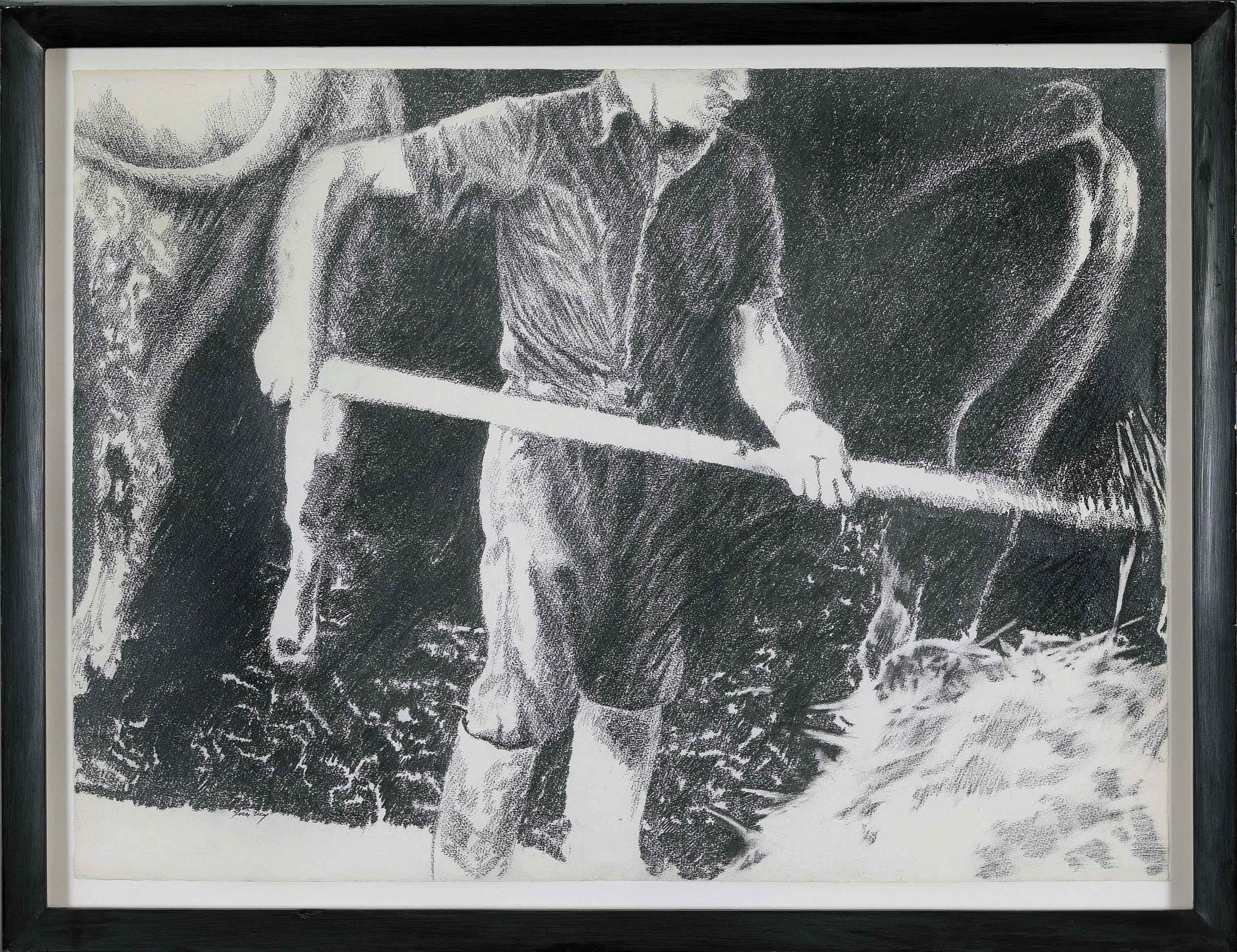 Large black and white drawing by Yvon Pissarro titled Farmhand in a Cowshed