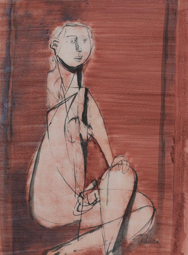 Seated Nude by Jankel Adler - Modern art, Polish artist, oil wash on paper For Sale 1