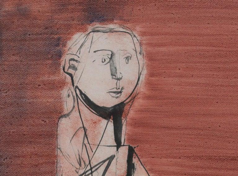 Seated Nude by Jankel Adler - Modern art, Polish artist, oil wash on paper For Sale 2