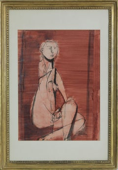 Seated Nude by Jankel Adler - Modern art, Polish artist, oil wash on paper