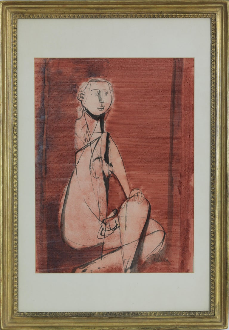 Seated Nude by JANKEL ADLER (1895-1949)  Oil wash on paper 42 x 31 cm (16 ½ x 12 ¼ inches) Signed lower right, Adler Executed in 1943   Provenance Private Collection, acquired from the artist, 1944 Sotheby's, Tel Aviv, 26th May 1988 Private