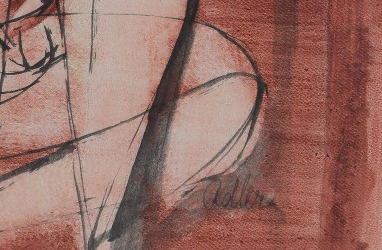 Seated Nude by Jankel Adler - Modern art, Polish artist, oil wash on paper For Sale 3