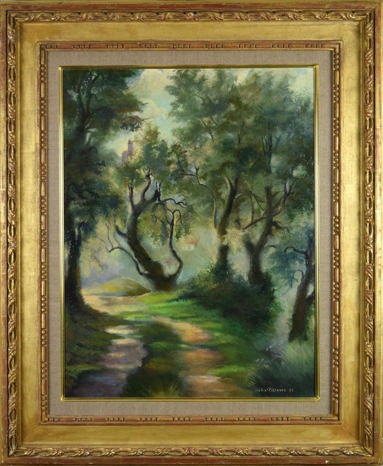 Félix Pissarro II Landscape Painting - Landscape oil painting by Felix  Pissarro II titled Pathway Near Menton