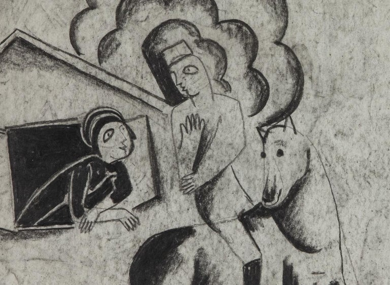 Figures in a Village by Béla Kádár - Charcoal Drawing For Sale 4