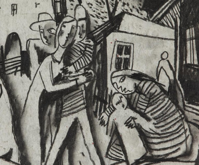Figures in a Village by Béla Kádár - Charcoal Drawing For Sale 2