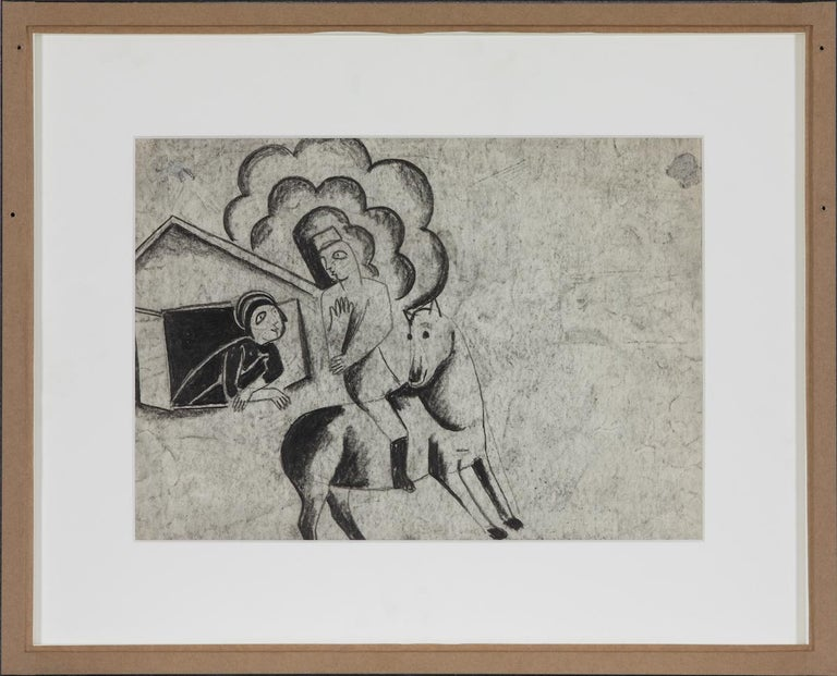 Figures in a Village by Béla Kádár - Charcoal Drawing For Sale 3