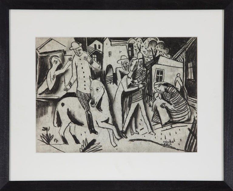 Figures in a Village by Béla Kádár - Charcoal Drawing For Sale 1
