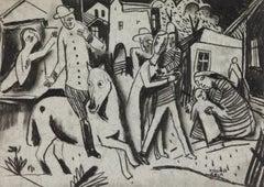 Figures in a Village by Béla Kádár - Charcoal Drawing