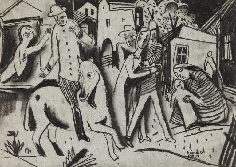 Figures in a Village by Béla Kádár (1877-1956) Charcoal on paper 33.2 x 23.5 cm (13 ¹/₈ x 9 ¹/₄ inches) Signed lower right Kádár Béla Executed circa 1920s  Provenance Mr and Mrs Imre Deák, after 1928  Artisti Biography The Hungarian artist Béla
