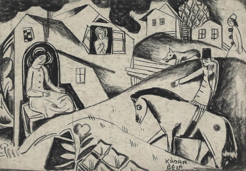 Village Scene by Béla Kádár - Charcoal drawing