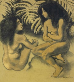 Deux Baigneurs by Georges Manzana Pissarro - Nude work on paper, c. 1920