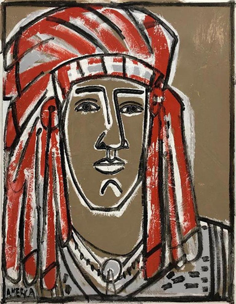 Red Headdress, America Martin- Native American Portrait-Figurative (Earth Tones) - Contemporary Art by America Martin