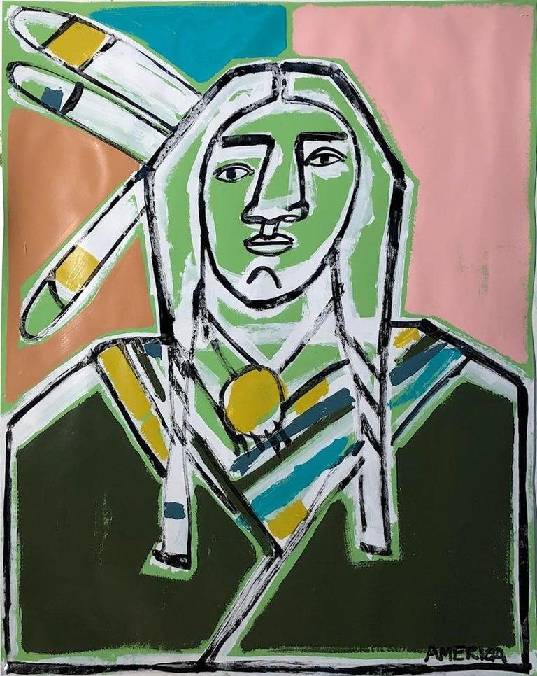 Three Feathers, America Martin-Figurative, Native American Portrait- Pink &Green - Contemporary Art by America Martin