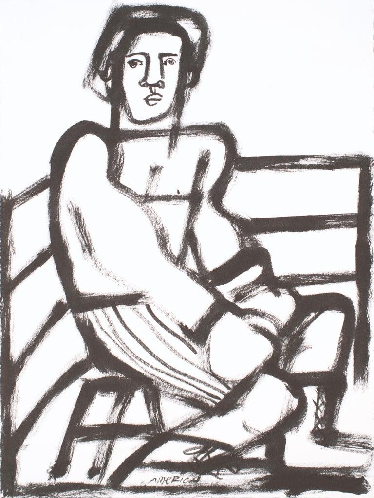 The Boxer, America Martin, black & white figurative drawing on cotton paper - Art by America Martin