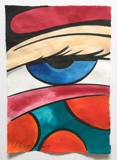 Untitled 28, John CRASH Matos, Street Art Inspired Watercolor (Figurative Eye)