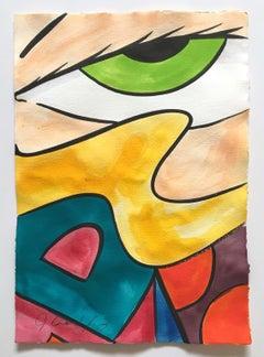 Untitled 30, John CRASH Matos, Street Art Inspired Watercolor, Figurative Eye