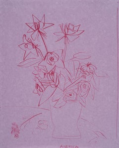 3 Roses of Different Shapes in Clay Vase, Pencil on Handmade Paper, Pink