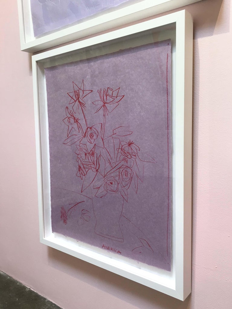 3 Roses of Different Shapes in Clay Vase, Pencil on Handmade Paper, Pink - Contemporary Art by America Martin