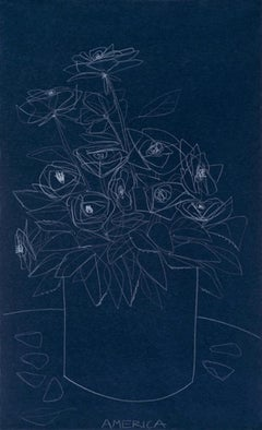 Roses on Blue Paper