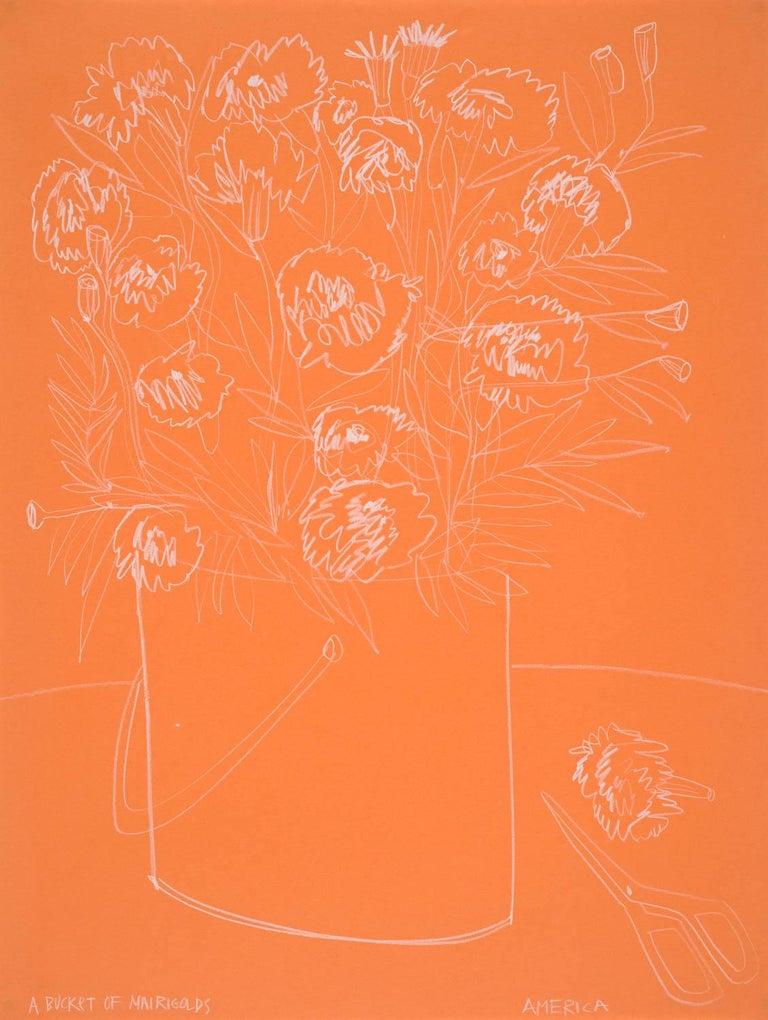 America Martin Still-Life - Roses on Orange Paper