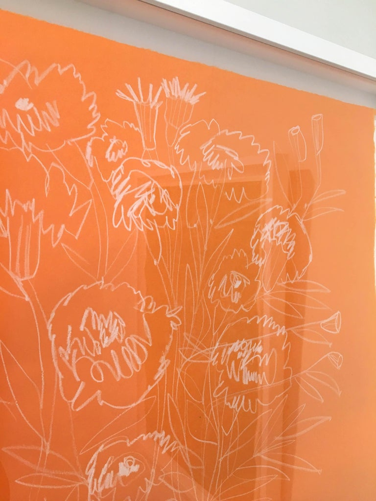 Roses on Orange Paper - Contemporary Art by America Martin