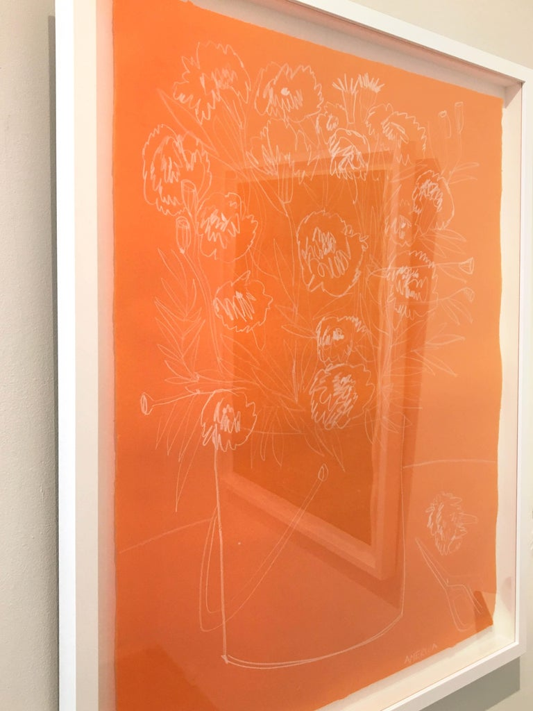 AMERICA MARTIN Roses on Orange Paper Clay Pencil on Handmade Japanese Paper 36 1/2 x 28 1/2 inches framed, white frame  AMERICA TO ME  Bursting with life, form, and color, America Martin's compositions pioneer a reaffirmation of life and the human