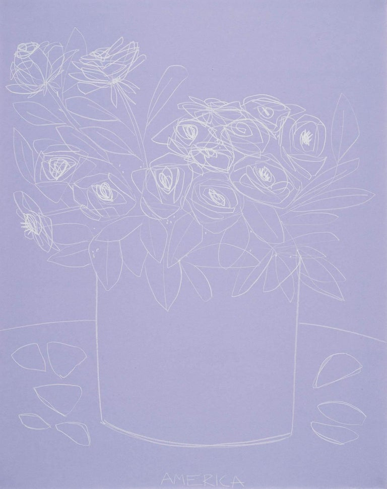 Roses on Violet Paper, America Martin, Pencil on Handmade Paper, 2019 - Art by America Martin