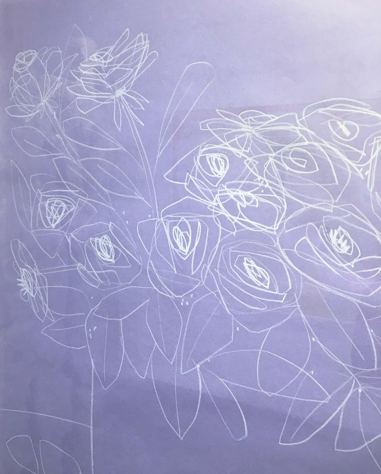 Roses on Violet Paper, America Martin, Pencil on Handmade Paper, 2019 - Purple Still-Life by America Martin