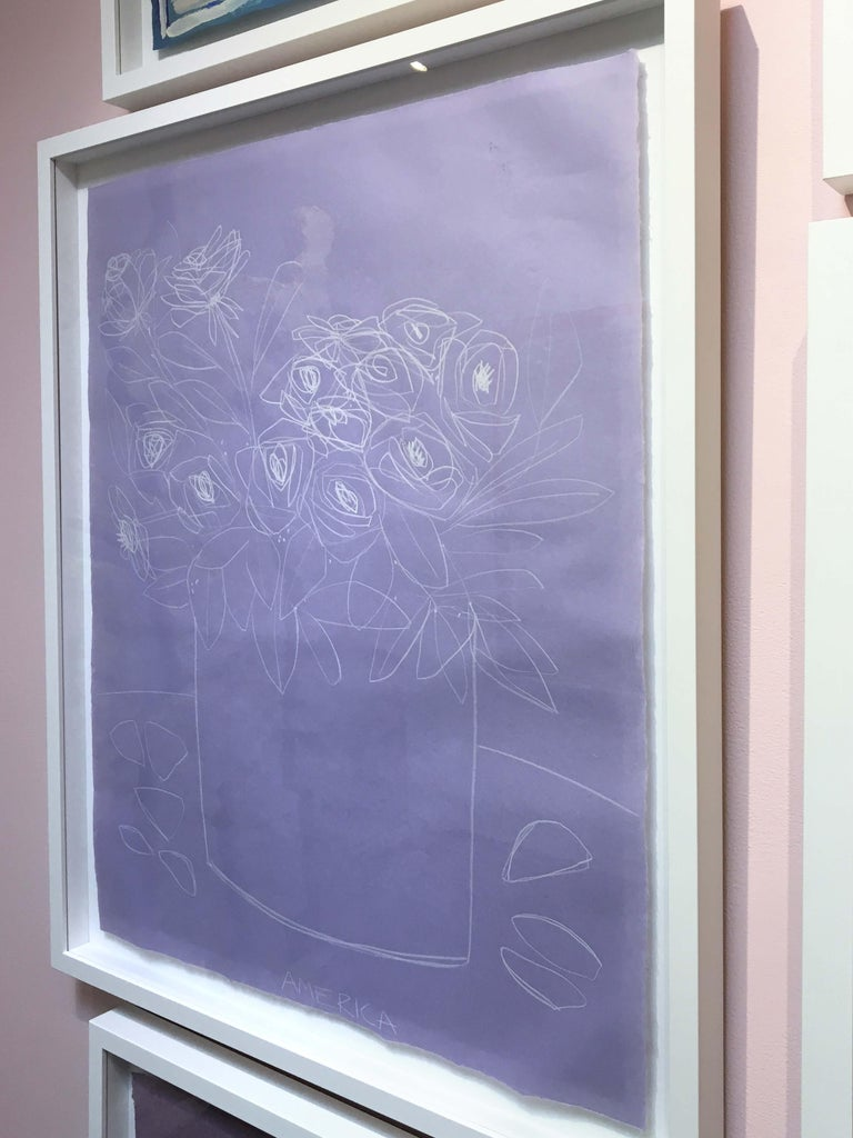 AMERICA MARTIN Roses on Violet Paper Clay Pencil on Handmade Japanese Paper 36 x 29 1/2 inches framed, white frame  AMERICA TO ME  Bursting with life, form, and color, America Martin's compositions pioneer a reaffirmation of life and the human