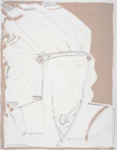 White Headdress, America Martin, Native American Portrait, Figurative (unframed)