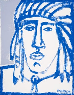 Blue Brave, America Martin, Native American Portrait on Paper -Figurative, Blues