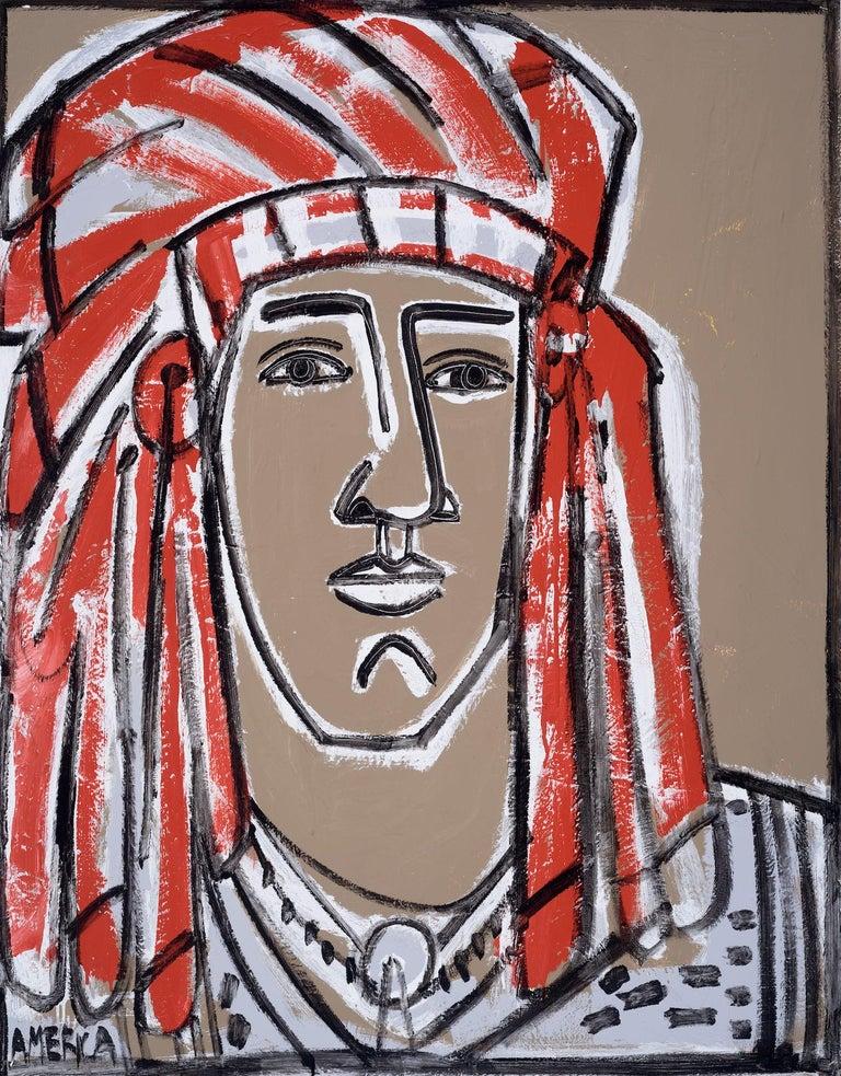 Red Headdress, America Martin- Native American Portrait-Figurative (Earth Tones) - Art by America Martin