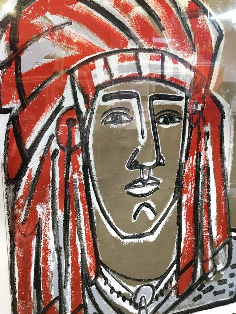Red Headdress, America Martin- Native American Portrait-Figurative (Earth Tones) For Sale 1