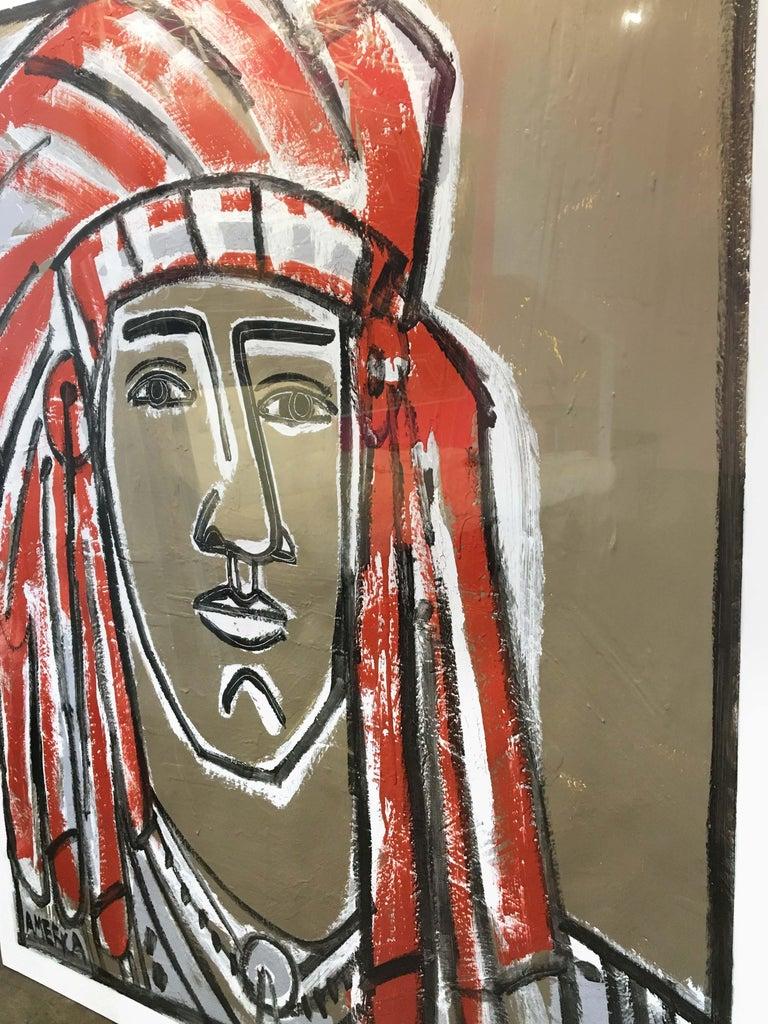 Red Headdress, America Martin- Native American Portrait-Figurative (Earth Tones) For Sale 2