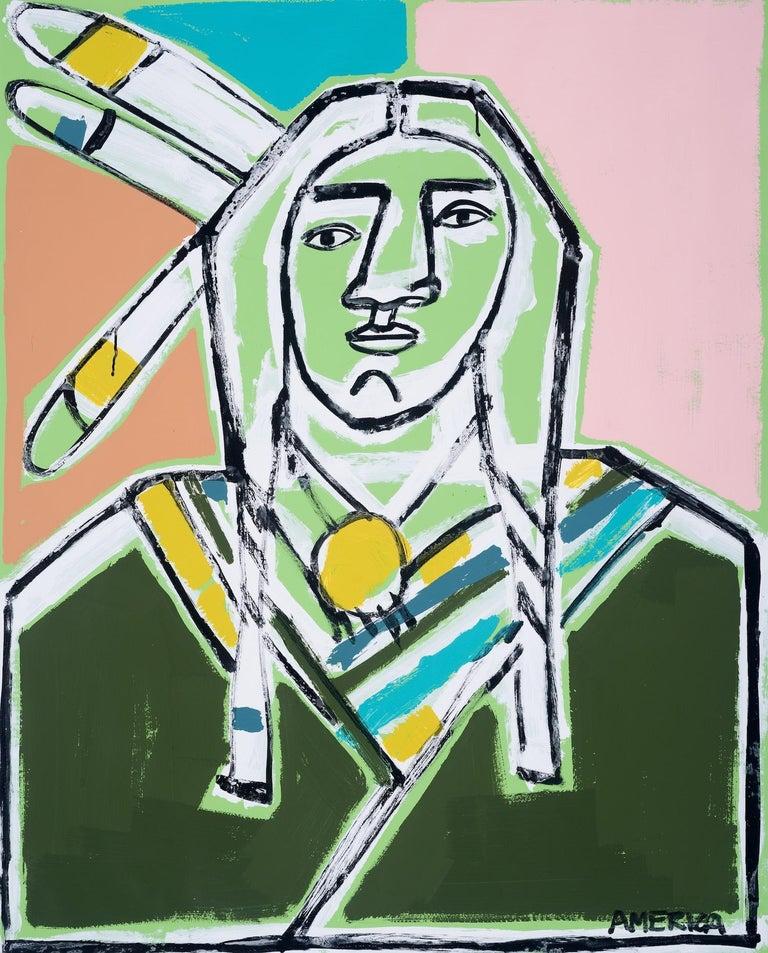Three Feathers, America Martin-Figurative, Native American Portrait- Pink &Green - Art by America Martin