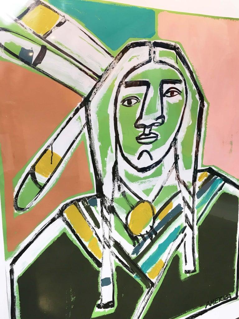 Three Feathers, America Martin-Figurative, Native American Portrait- Pink &Green For Sale 1