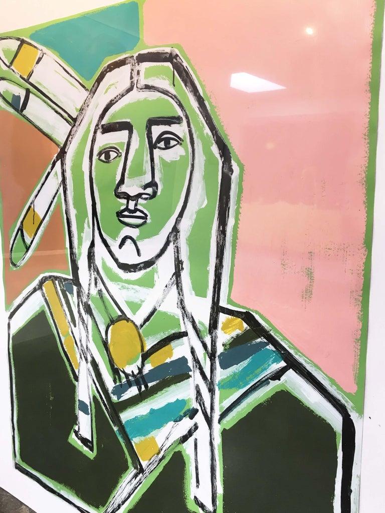 Three Feathers, America Martin-Figurative, Native American Portrait- Pink &Green For Sale 2