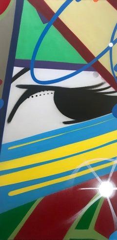 Tow the Line, John CRASH Matos, Spray Paint on Canvas (Figurative Graffiti)
