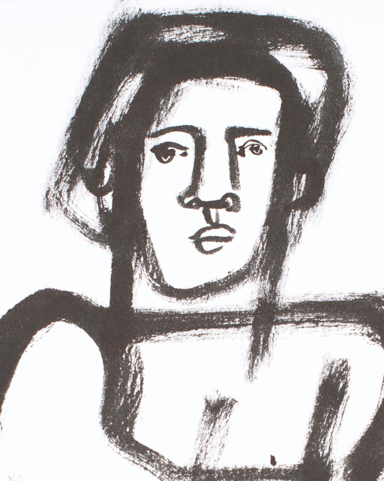 The Boxer, America Martin, black & white figurative drawing on cotton paper - Contemporary Art by America Martin
