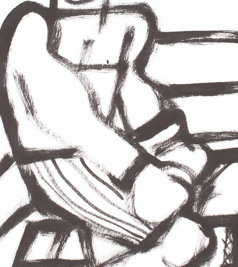 The Boxer, America Martin, black & white figurative drawing on cotton paper - Gray Figurative Art by America Martin