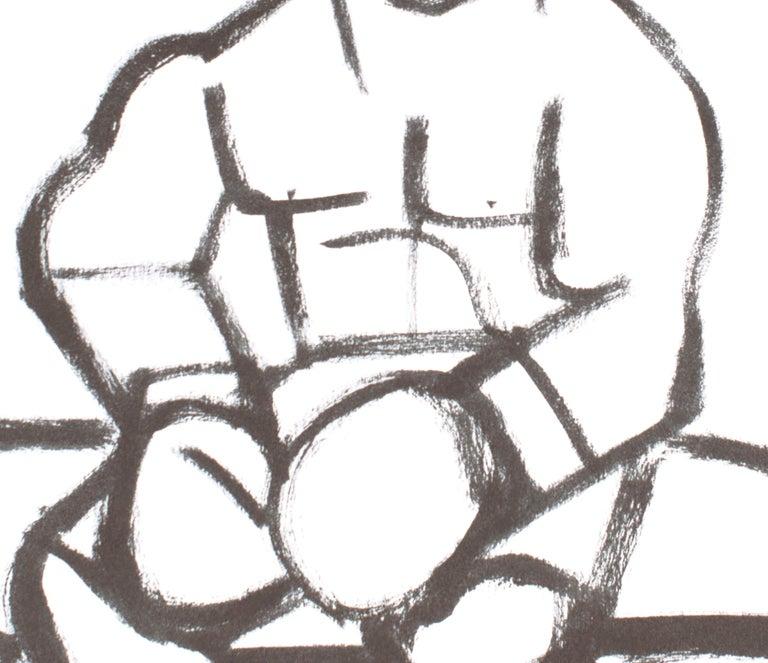 Good Time, America Martin, black & white figurative drawing on cotton paper - Gray Figurative Art by America Martin