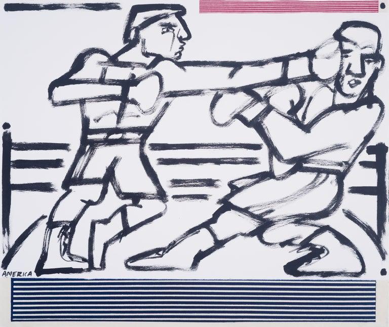 Boxers in the Ring, America Martin-black & white figurative drawing,cotton paper - Art by America Martin