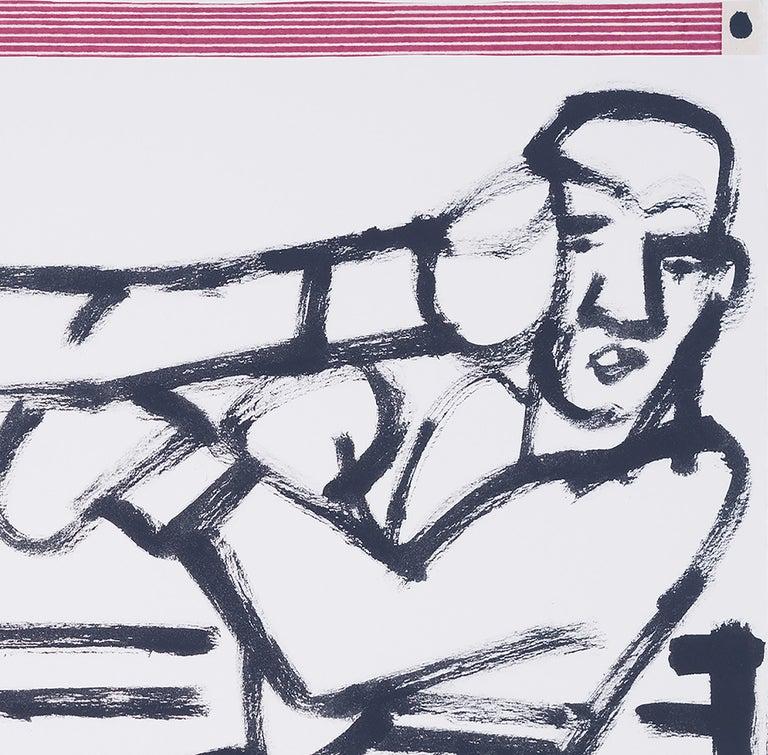 Boxers in the Ring, America Martin-black & white figurative drawing,cotton paper - Gray Figurative Art by America Martin