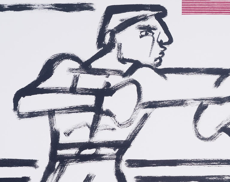 Boxers in the Ring, America Martin-black & white figurative drawing,cotton paper - Contemporary Art by America Martin